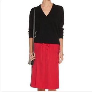 NEW • Tomas Maier • Red Satin Pleated Midi Skirt